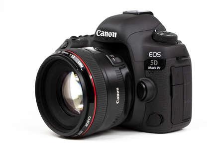Tokyo, Japan 22.04.2020: DSLR camera Canon Mark 5D IV with Canon EF-50mm 1.2 USM