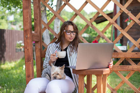 Portrait of attractive sexy young woman with york dog works with laptop drinking coffee on background of wooden pergola grid. distance working concept. Study and work at summer outdoors Archivio Fotografico