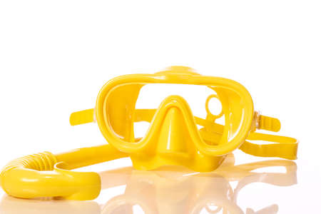 yellow set for diving, silicone mask and snorkel, equipment for snorkeling, isolated on white background 版權商用圖片