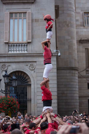 Barcelona, Spain, September 22 2019 - Castells performance during Fiesta de la Merce. symbol of unity and fearlessness of Catalan people Editorial