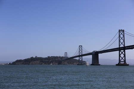 SAN FRANCISCO, CA, USA, 2.09.2020 - Suspension Oakland Bay Bridge in San Francisco to Yerba Buena Island view from downtown