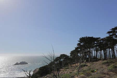 SAN FRANCISCO, CA, USA, 2.09.2020 - Coastal landscape, Lands End, San Francisco, California. North Pacific Ocean Sutro baths Seal Rocks Publikacyjne