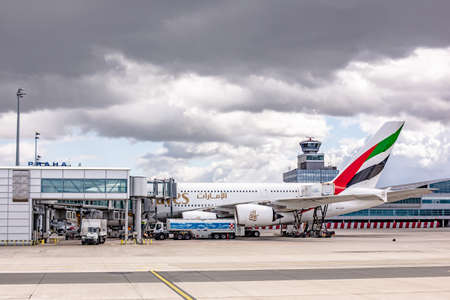 Prague, Czech Republic, 2.09.2020 - Emirates Airbus A-380-800 super jumbo largest passenger aircraft in world waiting for passengers and loading at Prague Airport