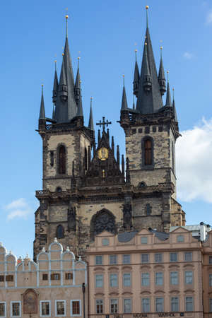 Prague, Czech Republic, 2.09.2020 - Towers and Spires of Tyn Church on Old Town Square under blue sky. Tours of Old Prague, travel concept, heritage of medieval Europe. most beautiful Prague buildings