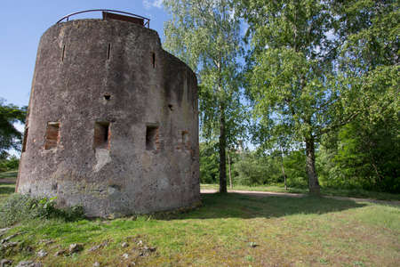 Olot, Spain, May 1, 2020 - Torres de Sant Francesc tower in crater of extinct volcano. concept of religious pilgrimage, journey to holy places. Welcome to Catalonia Copy space. historical heritage