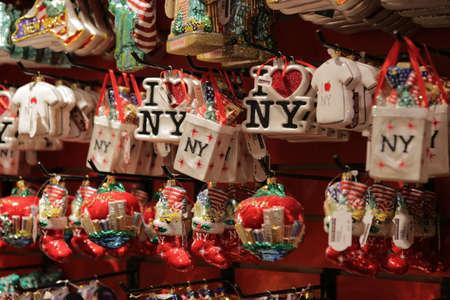 New York City, NY, USA 2.09.2020 - New York City theme Christmas tree decoration on display in Manhattan. I love NY souvenirs from New York. Christmas decorations at Macys Mega Store at Herald Square