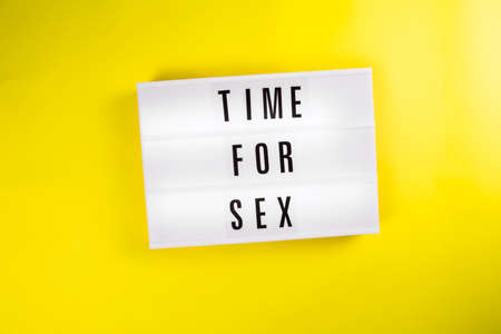 Lightbox with message TIME FOR SEX isolated on yellow background. Concept of couple intimate relationship, family lifestyle goals lifehacks, first night, married passion, orgasm, time for lovers, love