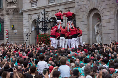 Barcelona, Spain, September 22 2019 - Castells performance during Fiesta de la Merce. symbol of unity and fearlessness of Catalan people. Celebrating of Covid Quarantine concept