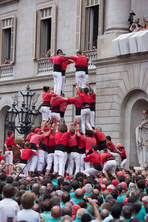 Barcelona, Spain, September 22 2019 - Castells performance during Fiesta de la Merce. symbol of unity and fearlessness of Catalan people. Celebrating End of Covid Quarantine concept