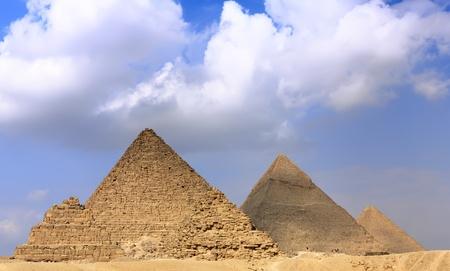 Great Pyramids, located in Giza, the pyramid of Pharaoh Khufu, Khafre and Menkaure. Egypt. Panorama photo