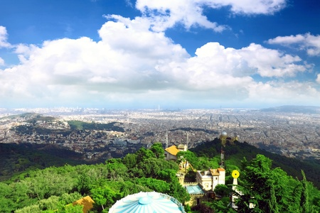 Panorama view on Barcelona city from mountain top Tibidabo. Spain photo