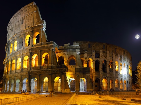 The Colosseum, the world famous landmark in Rome. Night view .Panorama photo