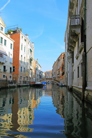 Classic view of Venice with canal and old buildings, Italy photo