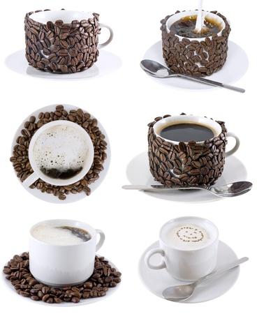 Collage (collection) of various coffee cups with coffee. Isolated over white. photo