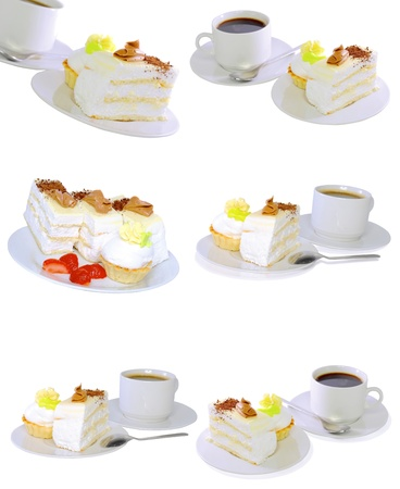 Collection-various cakes on plate with fruits, strawberrys. Isolated Stock Photo - 10202789