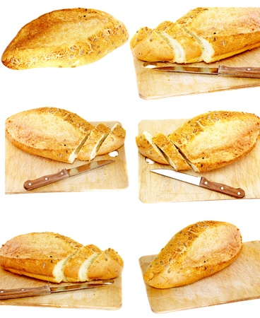 Collection, set fresh cutting bread. Isolated over white photo