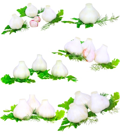 scurvy: Garlic, decorating of parsley. Isolated over white