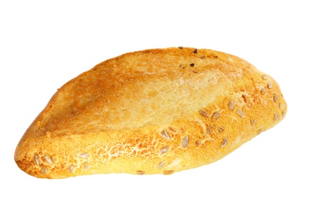 Fresh loaf of bread . Isolated over white photo
