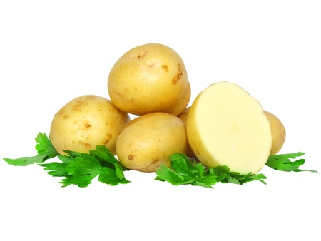 Potatos  and parsley . Isolated over white bachground photo