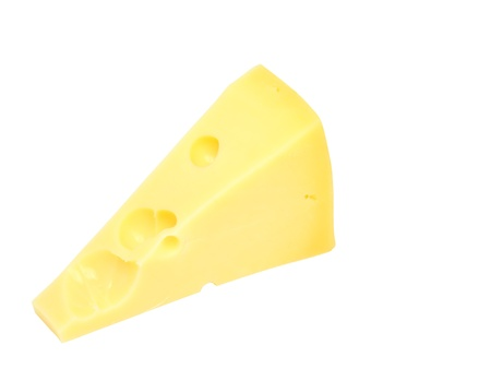 Piece of fresh cheese on white background. Isolated photo
