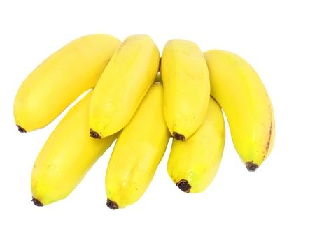nonfat: Bunch of mini-bananas .Isolated over white