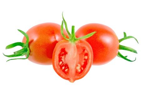 Lush cutting tomatoes . Isolated over white. Stock Photo - 10202887
