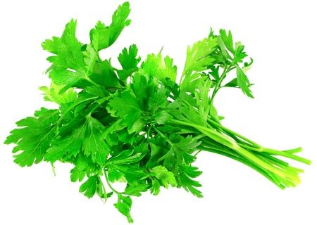 Fresh parsley on white background. Isolated over white photo