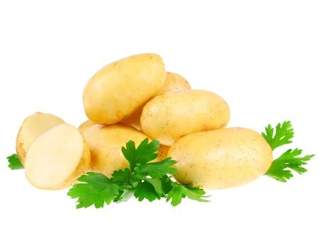 pure de papas: Joven patatas, decoraci�n de perejil. Aislado en blanco