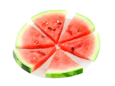 three cornered: Slice of juicy watermelon. Isolated over white. Stock Photo
