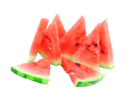 Slice of juicy watermelon. Isolated over white. photo
