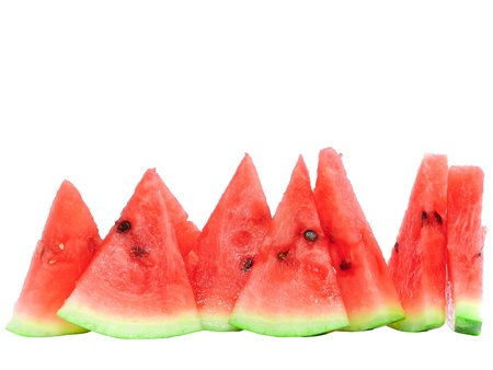 Slice of juicy watermelon. Isolated over white. Stock Photo