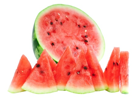 three cornered: Half of watermelon with juicy slice, isolated on white.