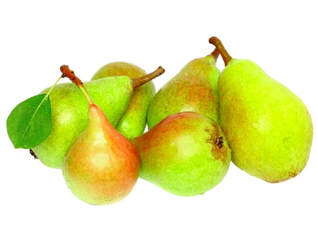 Heap of pear with stem and green leaf. Isolated over white photo