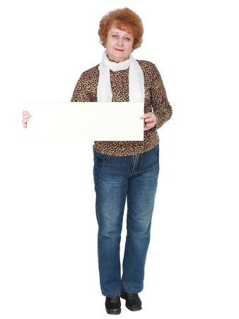 Senior lady standing with blank card. Isolated over white Stock Photo - 10275571