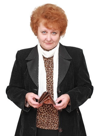 Senior lady with empty wallet  . Isolated over white photo