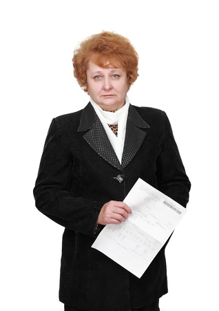 Senior lady standing with apartament rent bill. Isolated over white. photo