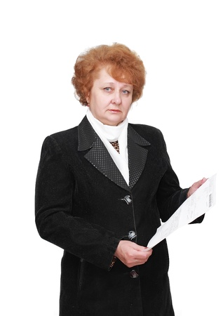 hypothec: Senior lady standing with apartament rent bill. Isolated over white. Stock Photo