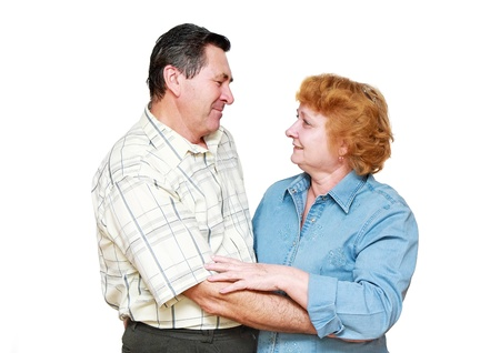 Old couple, pensioners. Isolated over white photo