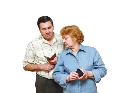 Old a married couple look at the pension ID photo