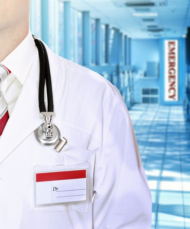 Close-up of fragment of suit medical doctor in Hospital corridor. photo