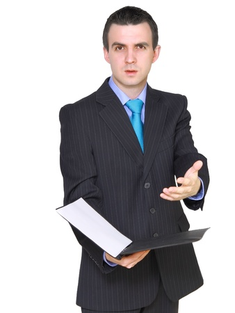needy: Cheerful businessman with paper folder. Isolated over white.