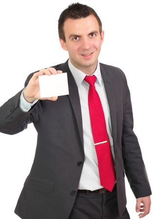 Caucasian businessman with empty , blank white card. Isolated photo