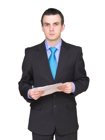 ravage: Cheerful businessman with paper folder. Isolated over white.