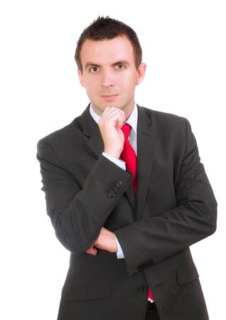 pensiveness: Caucasica uomo d'affari - in condizione di pensosit�. Isolamento su bianco