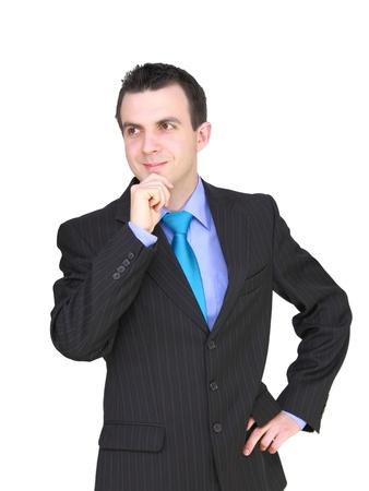 pensiveness: Caucasian imprenditore - in condizione di pensosit?. Isolamento su bianco Archivio Fotografico