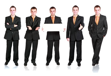 moneyless: Collection of businessmans in various condition. Isolated over white