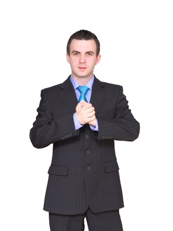 Cheerful businessman ready for handshake. Isolated over white. Stock Photo - 10275428