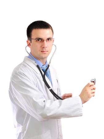 houseman: Friendly medical doctor stethoscopes listen. Isolated over white