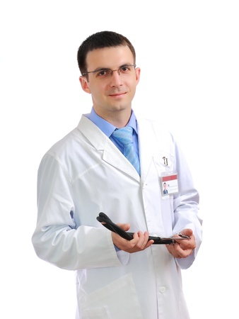 Portrait of medical doctor with phonendoscope. Isolated over white Stock Photo - 10275447