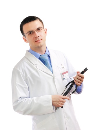 Portrait of medical doctor with phonendoscope. Isolated over white Stock Photo - 10275472